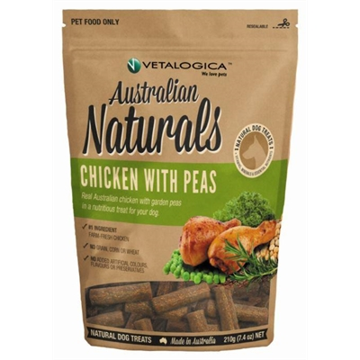 Vetalogica Australian Naturals – Chicken with Peas Treats for Dogs 210g