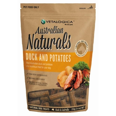 Vetalogica Australian Naturals – Duck and Potato Treats for Dogs 210g