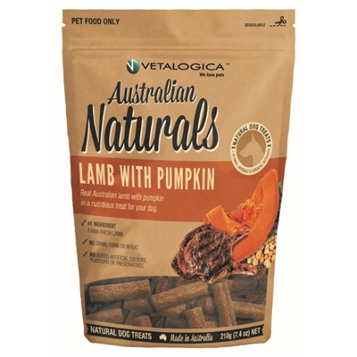 Vetalogica Australian Naturals – Lamb with Pumpkin Treats for Dogs 210g